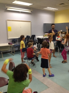 Our youngest students working with teaching artist, Jono Waldman in Musical Mania. They were learning about the ukulele. Very exciting!