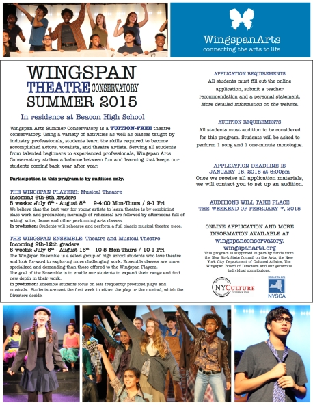 Apply for Summer Conservatory 2015! | Wingspan Arts Conservatory